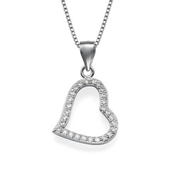Open Heart Pendant Necklace with Cubic Zirconia product photo
