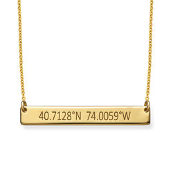 Engraved Coordinates Bar Necklace product photo