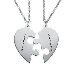Heart Puzzle Piece Necklace Set with Engraving product photo