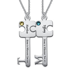 Personalized Puzzle Key Necklace Set in Sterling Silver product photo