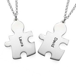 Puzzle Necklaces for Couple's in Sterling Silver product photo