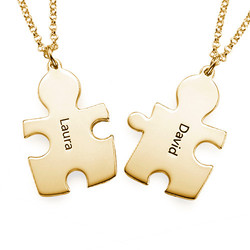 18k Gold Plated Silver Couple's Puzzle Love Necklaces product photo