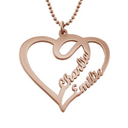 Couple Heart Necklace in Rose Gold Plated product photo
