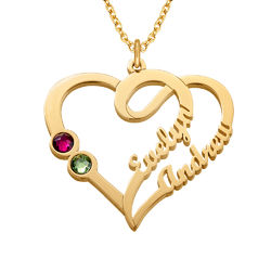 Couples Birthstone Necklace with Gold Plating product photo