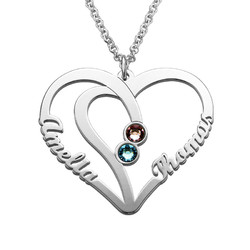 Couples Birthstone Necklace in Silver product photo