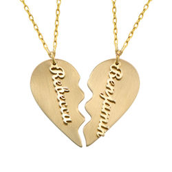 Personalized Couple Broken Heart Necklace in 10k Yellow Gold product photo