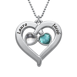 Personalized Heart Necklace with Birthstones product photo
