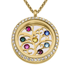 Family Tree Floating Locket with Birthstones - Gold Plated product photo