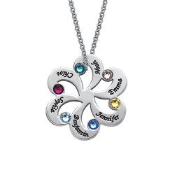 Birthstone Family Necklace - Flower Shaped product photo