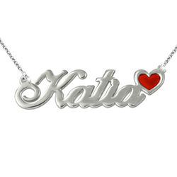Sterling Silver Name Necklace with Color Charm product photo