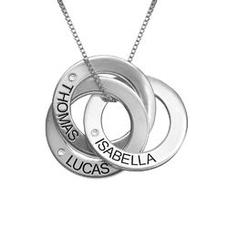 Diamond Russian Ring Necklace in Sterling Silver product photo