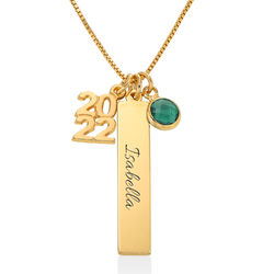 personalized charms graduation necklace in gold plating product photo