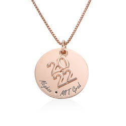 Engraved Graduation Necklace in Rose Gold Plating product photo