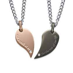 2 Piece Heart Necklace Set for Couples product photo