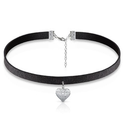 Black Choker Necklace with Heart Charm product photo