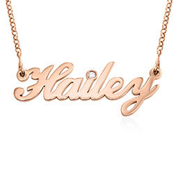 Small Classic Name Necklace with 2 Points Carats Diamond in Rose Gold product photo