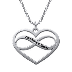 Infinity Heart Necklace with Engraving product photo