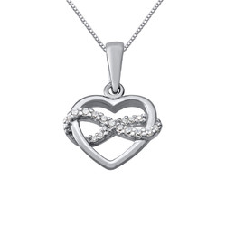 Infinity Heart Necklace in Silver & Cubic Zirconia product photo