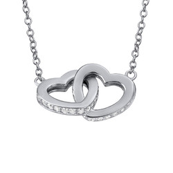 Intertwined Heart Necklace in Silver & Cubic Zirconia product photo