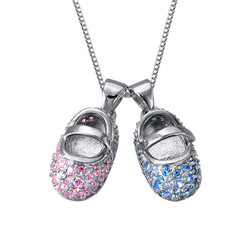 Baby Shoe Charm Necklace with Engraving product photo