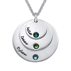 Children Name Necklace with Birthstones product photo