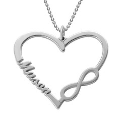 Personalized Heart Infinity Necklace product photo