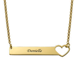Heart Bar Necklace with Engraving - 18K Gold Plated product photo