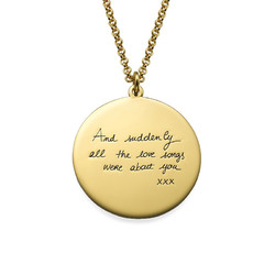 Handwriting Necklace with Gold Plating - Disc Shaped product photo