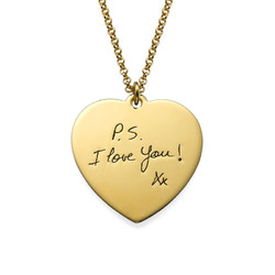Handwriting Heart Necklace with Gold Plating product photo