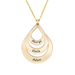 Engraved Family Necklace Drop Shaped in Gold 10K product photo