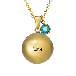 Engraved Harmony Necklace with Birthstone - Gold Plated product photo