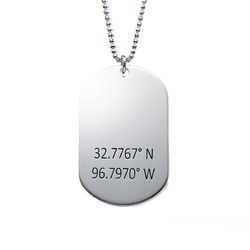 Coordinates Dog Tag Necklace in Sterling Silver product photo