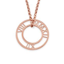 Roman Numeral Circle Necklace in Rose Gold Plating product photo