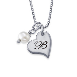 Heart Initial Necklace with Pearl in Silver product photo