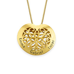 Engraved Heart Necklace in Gold Plating product photo