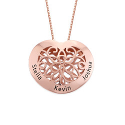 Engraved Heart Necklace in Rose Gold Plating product photo