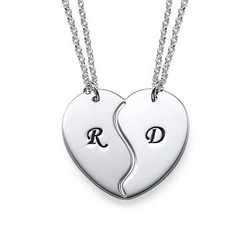 Breakable Heart Necklaces with Initial Engraving product photo