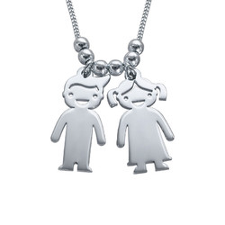 Mother's Necklace with Children Charms in Silver product photo