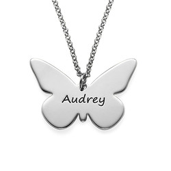 Engraved Silver Butterfly Pendant Necklace product photo