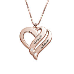 Two Hearts Forever One Rose Gold Plated with Diamonds Necklace product photo