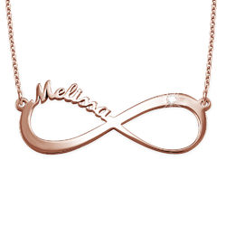 Infinity Name Necklace Rose Gold Plated with Diamond product photo