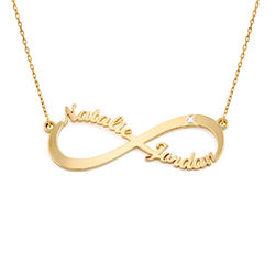Infinity Name in 10K Yellow Gold Necklace with Diamond product photo