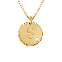 18k Gold Vermeil Charm Necklace with Initial and Diamond product photo