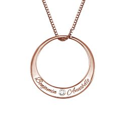 Circle Rose Gold Plated Necklace with Diamond product photo