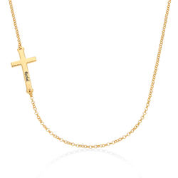 18k Gold Plated Taylor Momsen Engraved Cross Necklace product photo