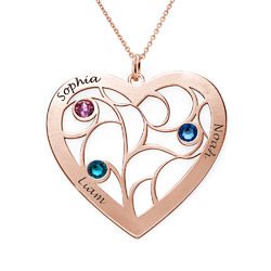 Heart Family Tree Necklace with birthstones in Rose Gold Plating product photo