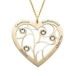 Heart Family Tree Necklace with Birthstones in Gold 10k product photo