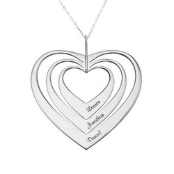 Family Hearts necklace in White Gold product photo