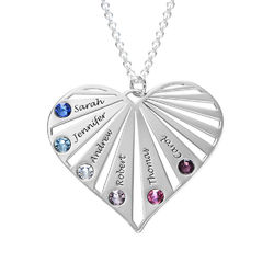 Family Necklace with Birthstones in Sterling Silver product photo