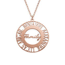 Mom Circle Necklace in Rose Gold Plating product photo